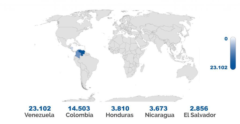 paises con mas solicitudes de asilo en españa (2019)