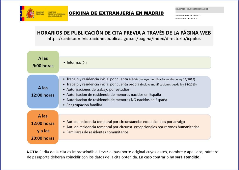 Horario Oficial de las citas de extranjería.